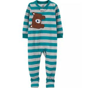 Carter's Bear Striped Polyester Footies One Piece Pajamas PJs Size 18 Months